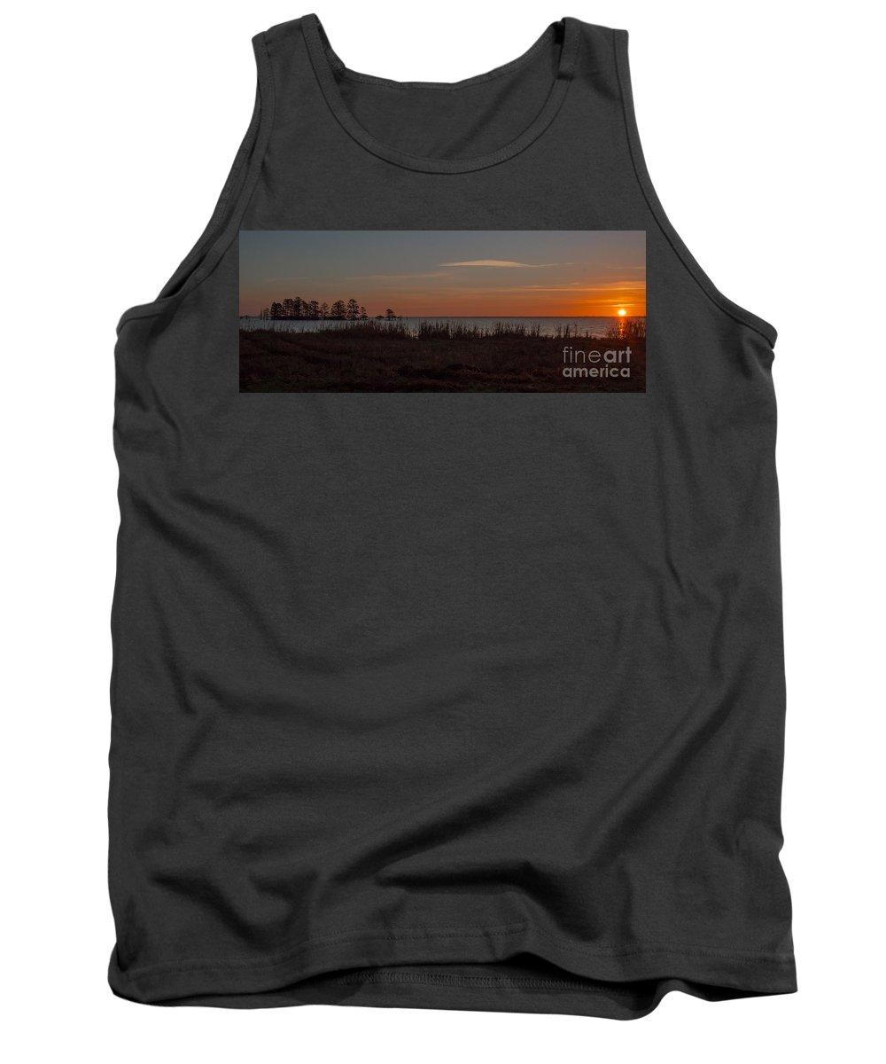Sun Tank Top featuring the photograph Sunrise On Lake Mattamuskeet by Scott Hervieux