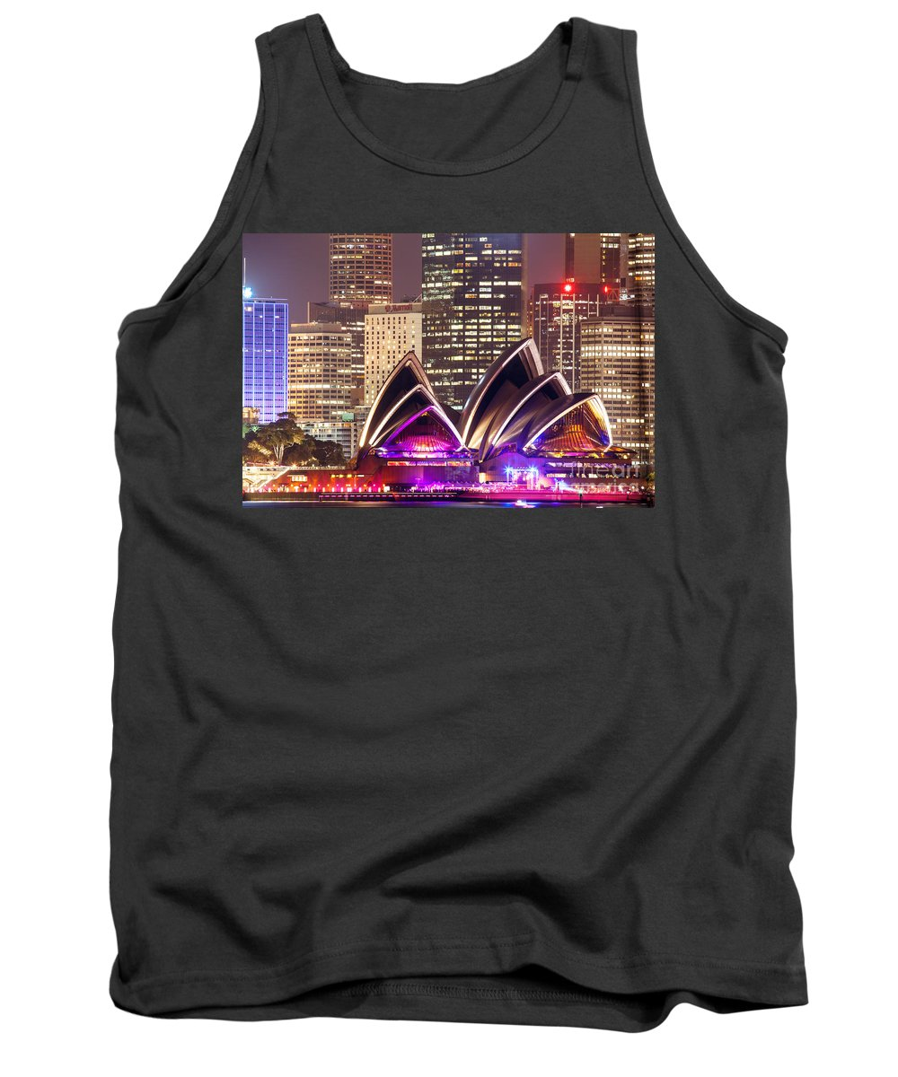 Opera House Tank Top featuring the photograph Sydney Skyline At Night With Opera House - Australia by Matteo Colombo