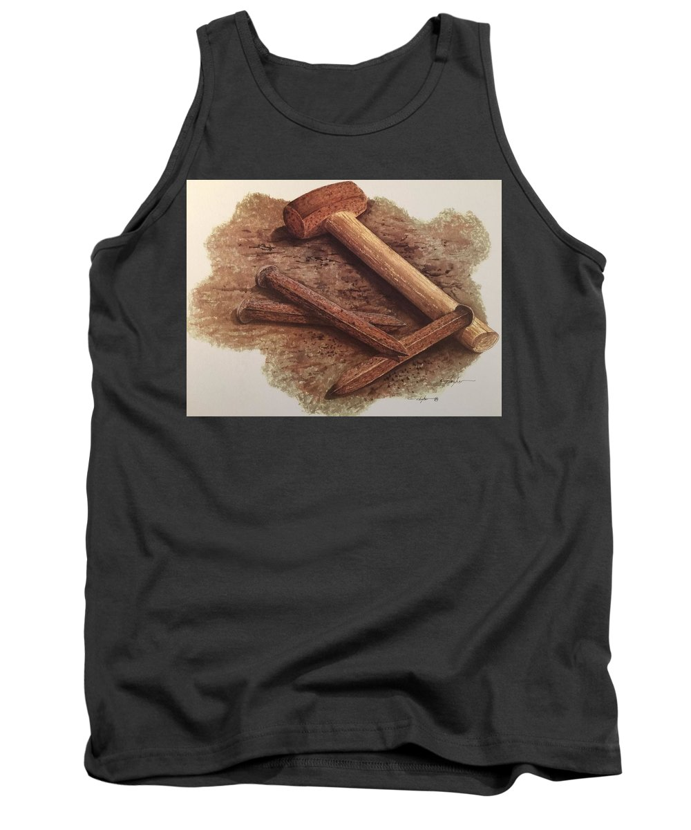 Tank Top featuring the painting Three Rusty Nails by Mickey Clogher