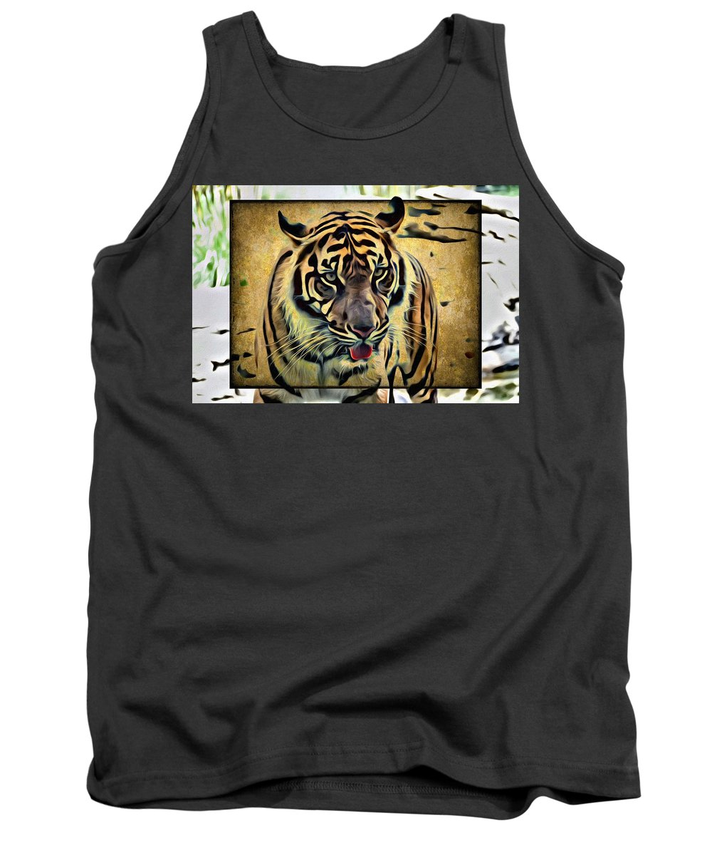 Tiger Tank Top featuring the photograph Tiger Tongue by Alice Gipson