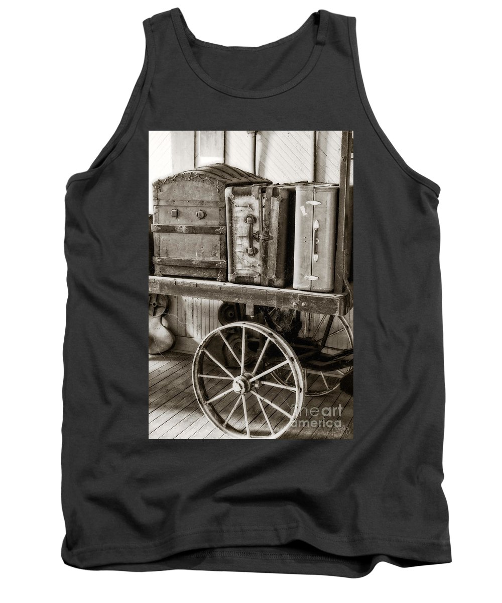 Train Station Luggage Tank Top featuring the photograph Train Station Luggage Cart by Imagery by Charly