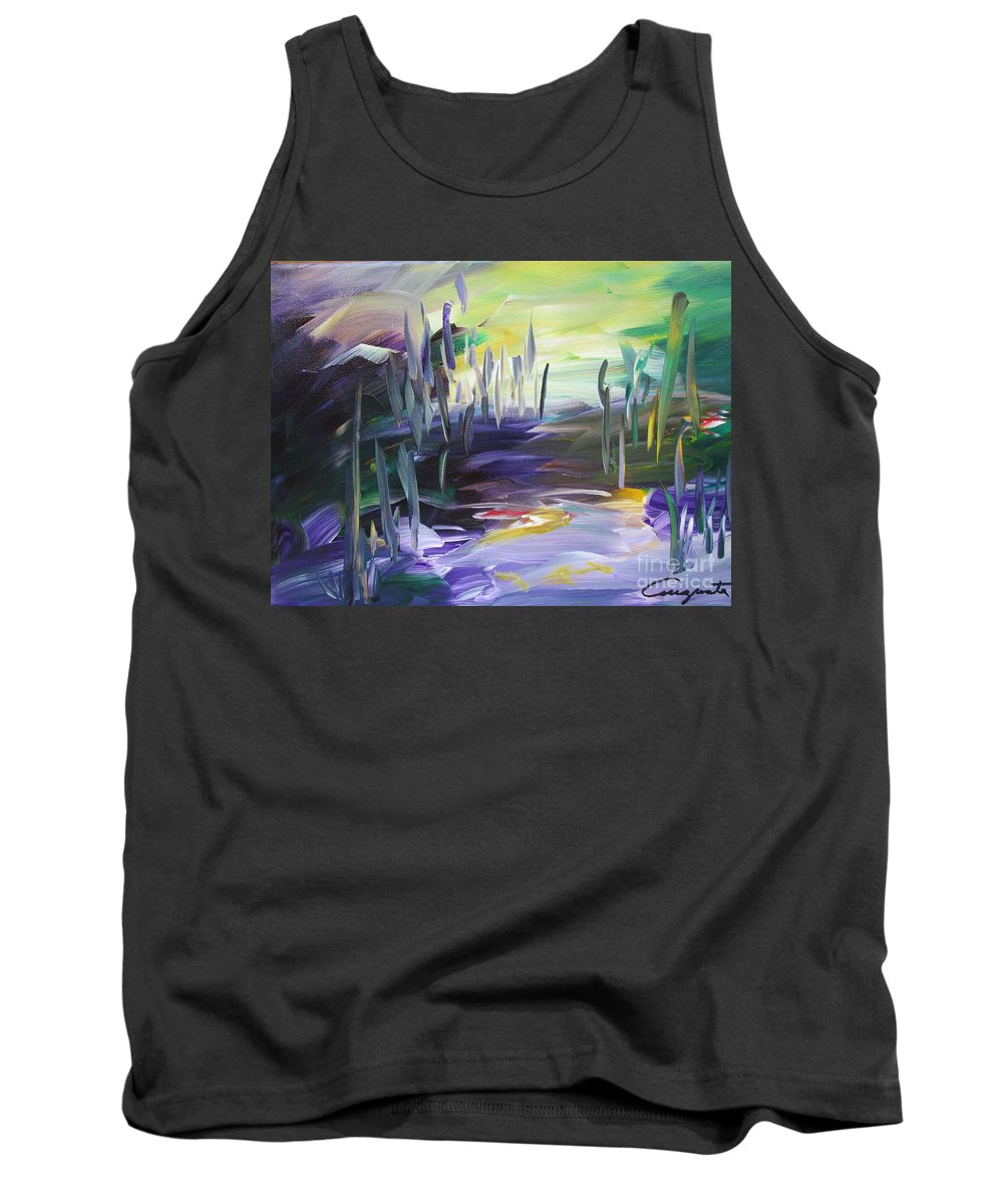 Abstract Landscape Tank Top featuring the painting Walking Through by Augusta Lourenco- Dias