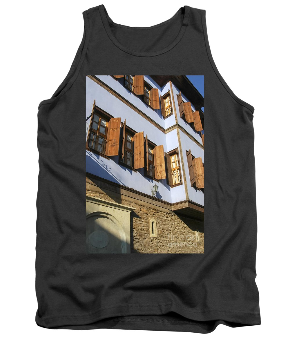 Ottoman House Houses Structure Structures Architecture Building Buildings M Safranbolu Turkey Cityscape Cityscapes Window Windows Shutter Shutters City Cities Tank Top featuring the photograph Window Shutters by Bob Phillips