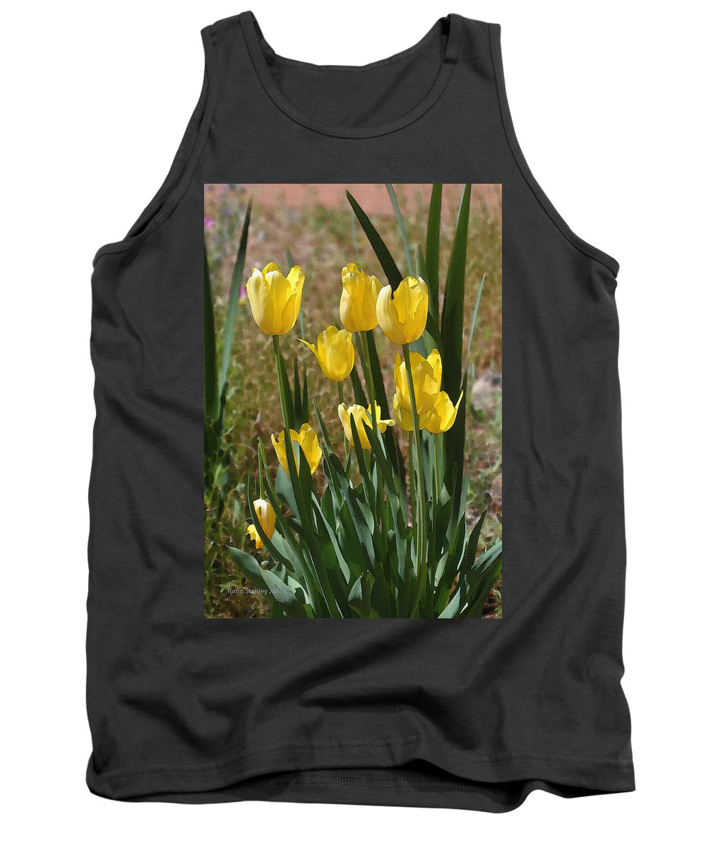 Yellow Tulips At The Arboretum Tank Top featuring the photograph Yellow Tulips At The Arboretum by Tom Janca