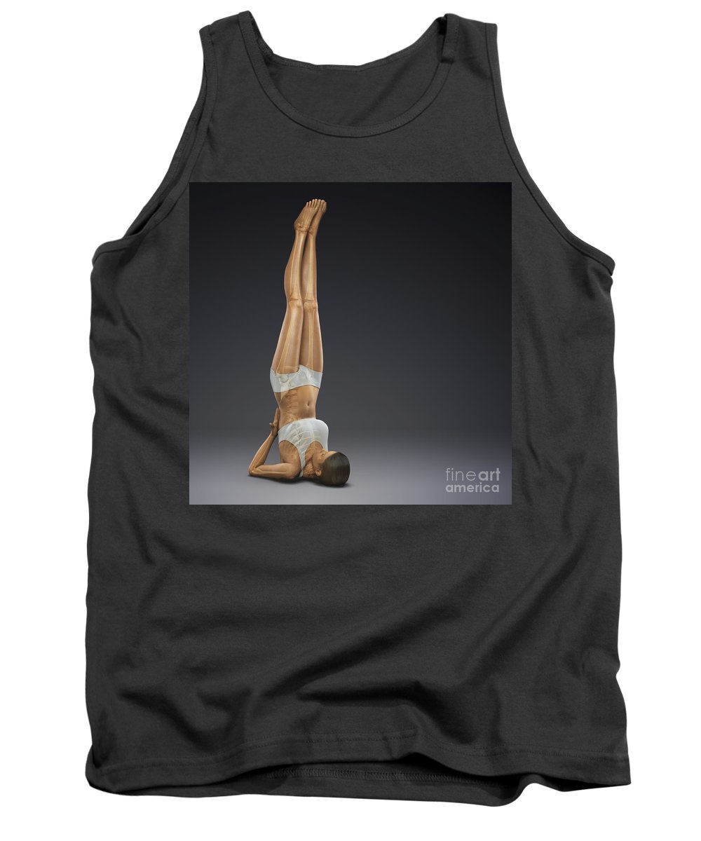 Digitally Generated Image Tank Top featuring the photograph Yoga Shoulderstand Pose by Science Picture Co