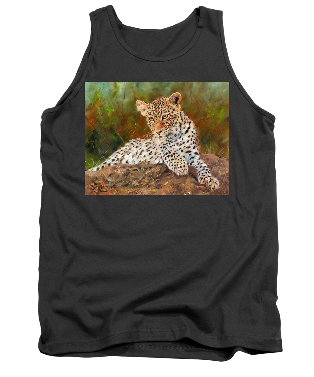 Leopard Tank Top featuring the painting Young Leopard by David Stribbling