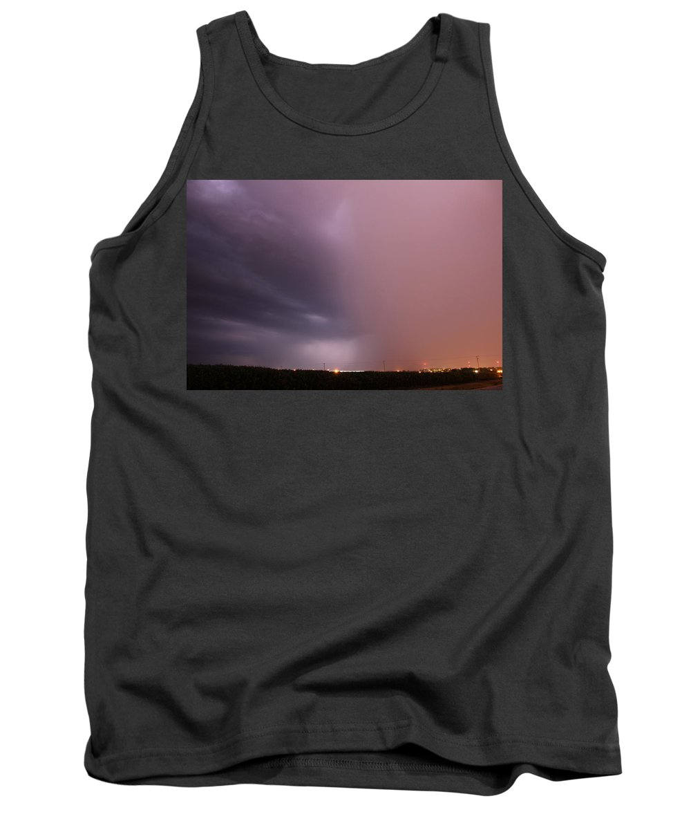 Stormscape Tank Top featuring the photograph Late Night Early July Thunderstorm by NebraskaSC