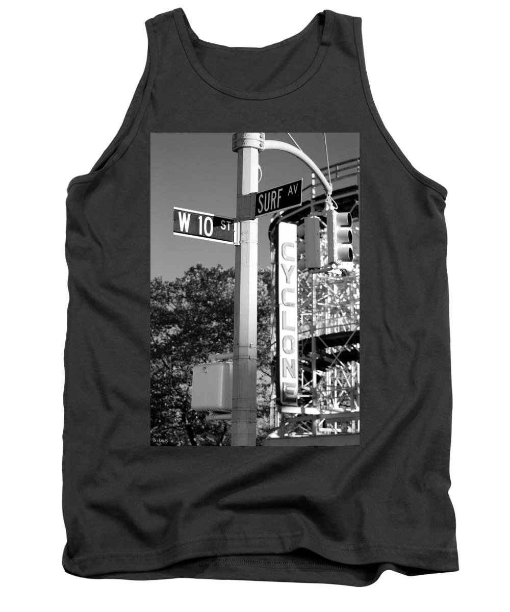 Brooklyn Tank Top featuring the photograph 10th and SURF in BLACK AND WHITE by Rob Hans