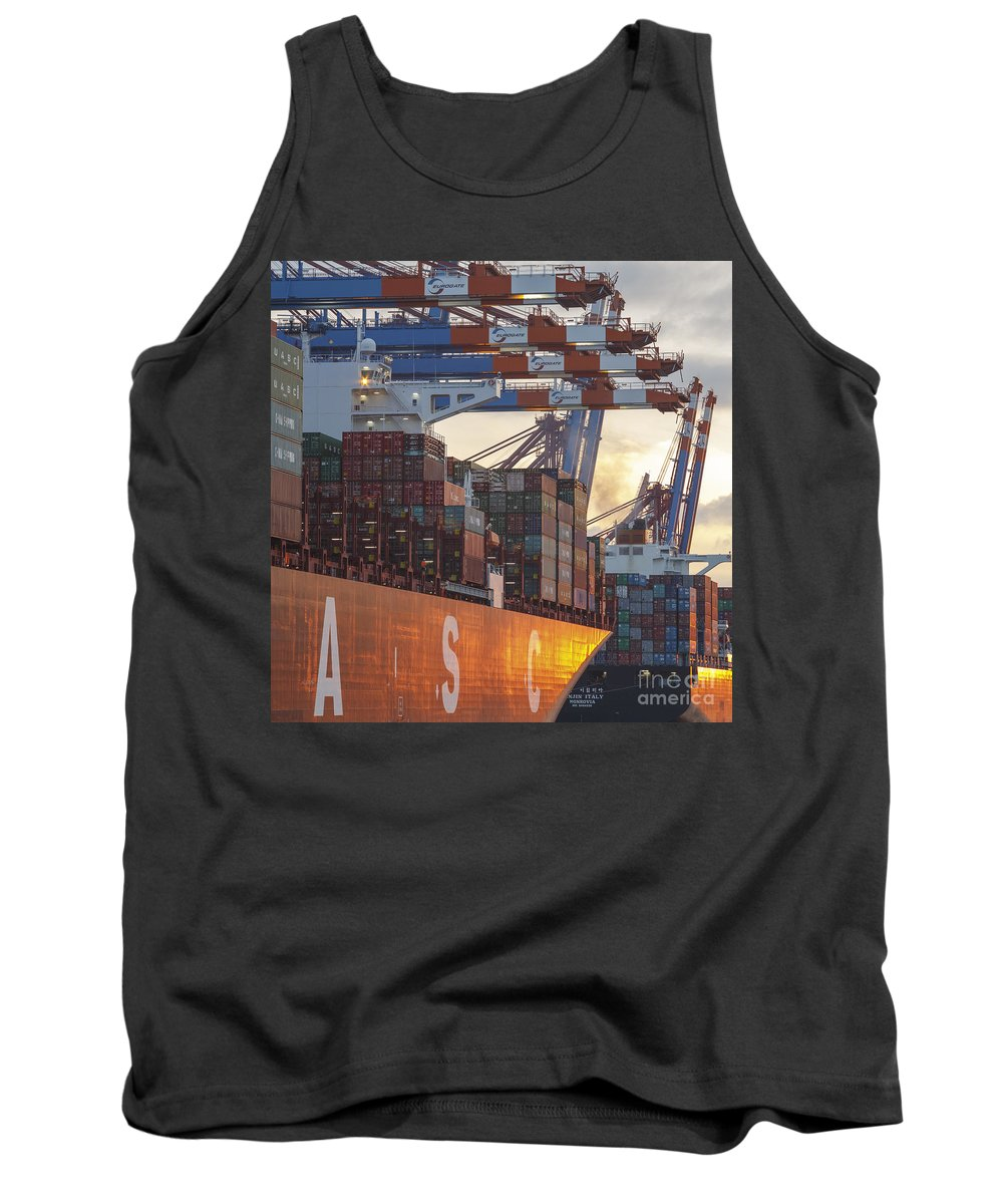 2014 Tank Top featuring the photograph Hamburg Harbor Container Terminal by Jannis Werner