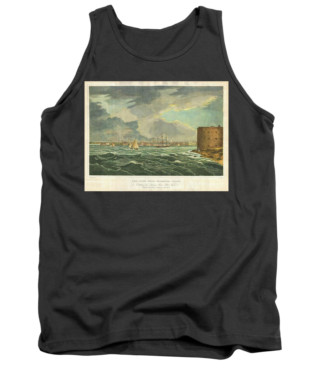 A Rare Find Tank Top featuring the photograph 1825 Wall And Hill View Of New York City From The Hudson River Port Folio by Paul Fearn