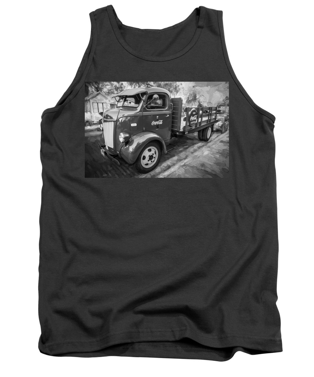 1947 Ford Tank Top featuring the photograph 1947 Ford Coca Cola C.o.e. Delivery Truck Bw by Rich Franco