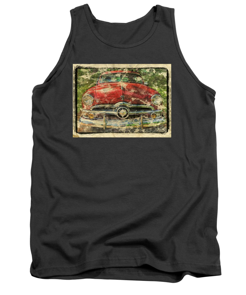 1949 Red Ford Coupe Tank Top featuring the photograph 1949 Red Ford Coupe by Rebecca Korpita