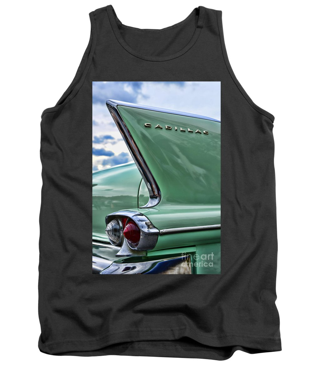 1958 Cadillac Tail Fins Tank Top featuring the photograph 1958 Cadillac It's All In The Fin. by Paul Ward