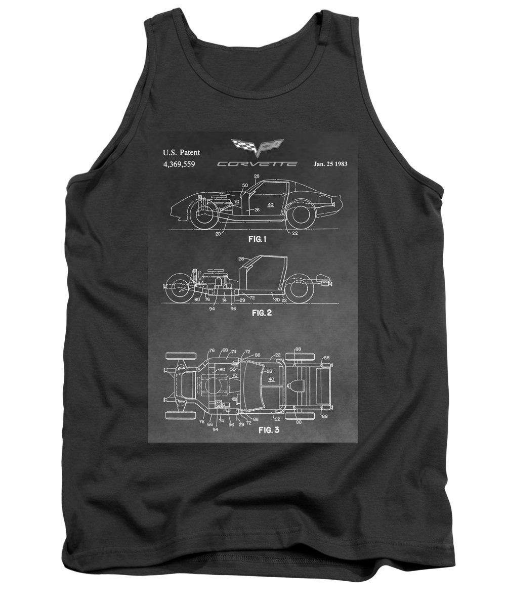 Corvette Patent Tank Top featuring the digital art 1983 Corvette Patent by Dan Sproul