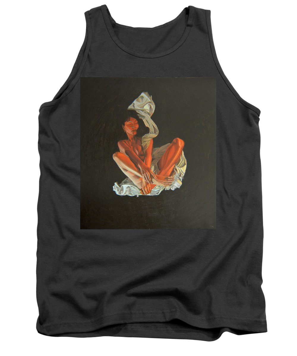 Semi-nude Tank Top featuring the painting 2 30 Am by Thu Nguyen