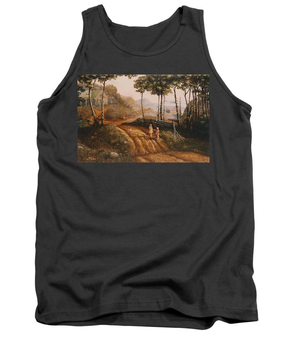 Country Tank Top featuring the painting A Country Lane by Duane R Probus