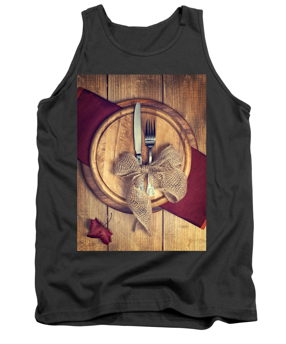Knife Tank Top featuring the photograph Autumn Table Setting by Amanda Elwell