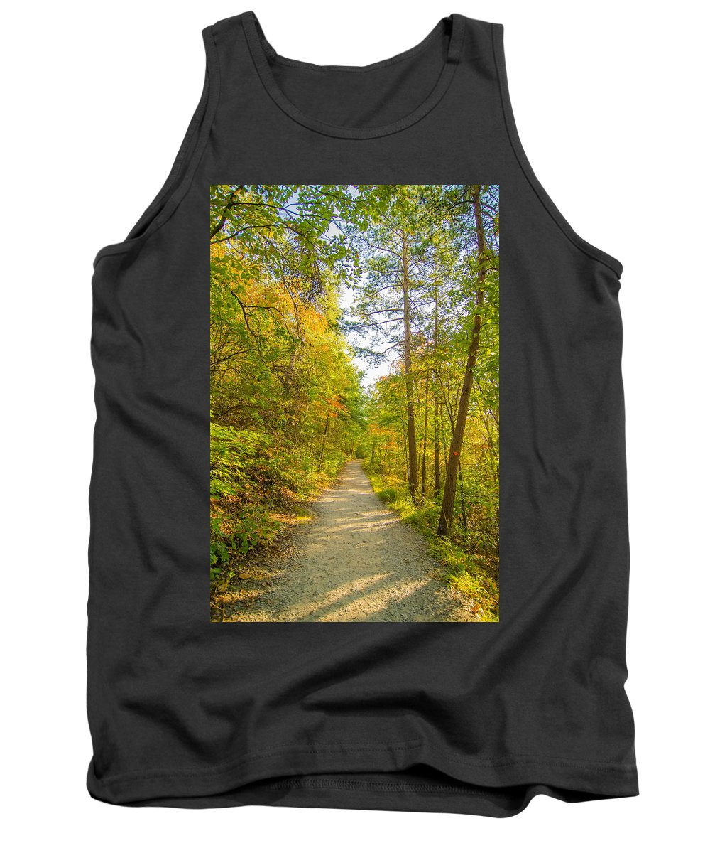 Autumn Tank Top featuring the photograph Beautiful Autumn Forest Mountain Stair Path At Sunset by Alex Grichenko