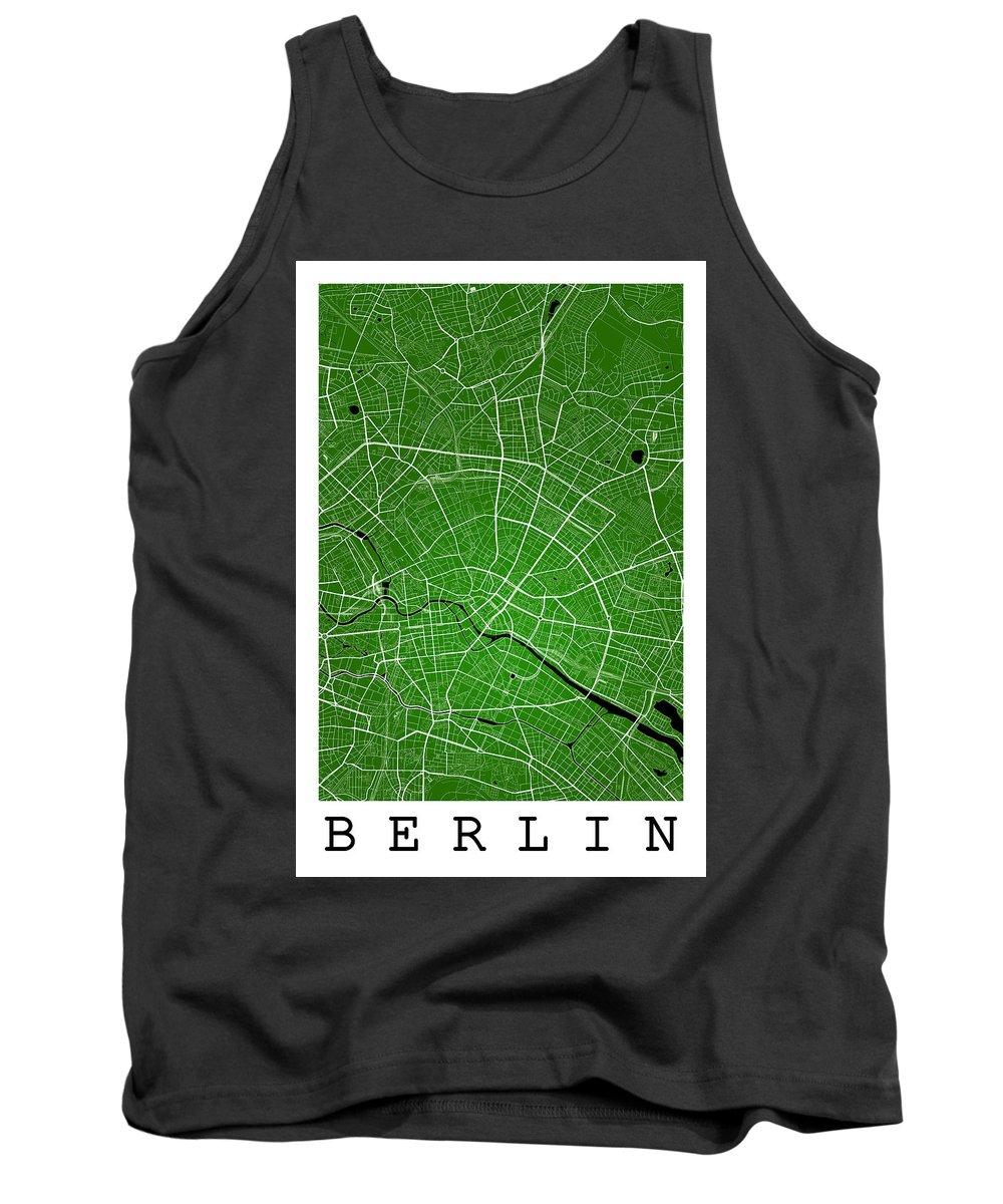 Road Map Tank Top featuring the digital art Berlin Street Map - Berlin Germany Road Map Art On Colored Backg by Jurq Studio