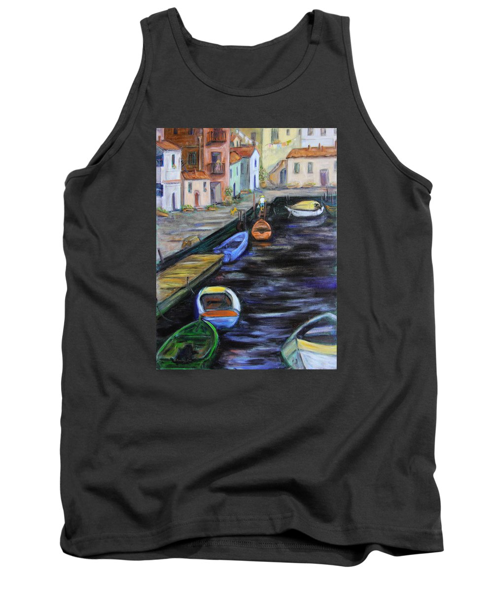 Village Tank Top featuring the painting Boats In Front Of The Buildings IIi by Xueling Zou