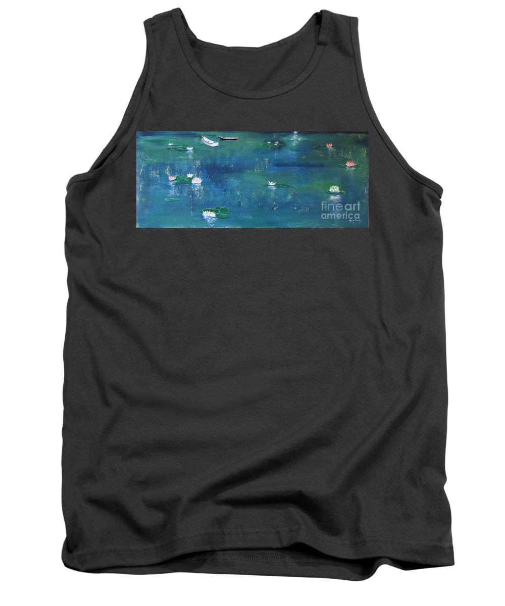 Pond Tank Top featuring the photograph 2 Boats In The Lily Pond by Gary Smith