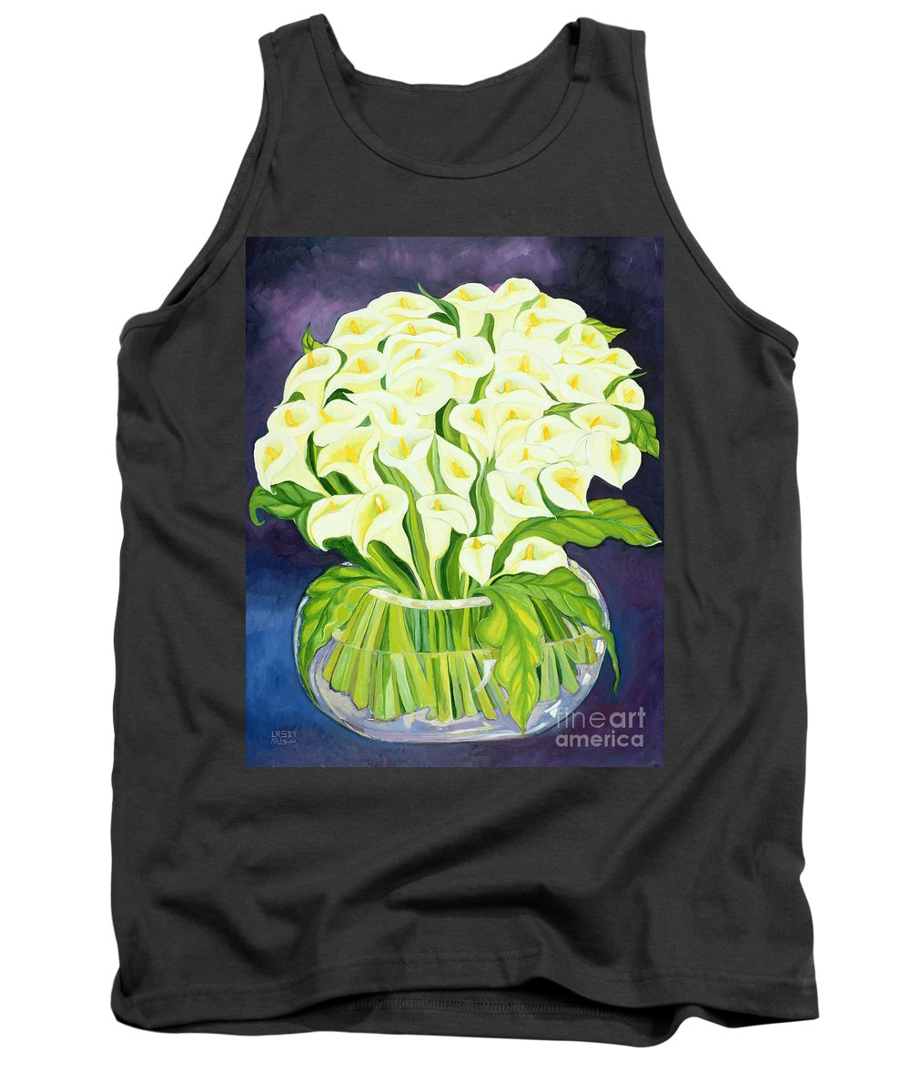 Flowers Tank Top featuring the painting Calla Lilies by Laila Shawa