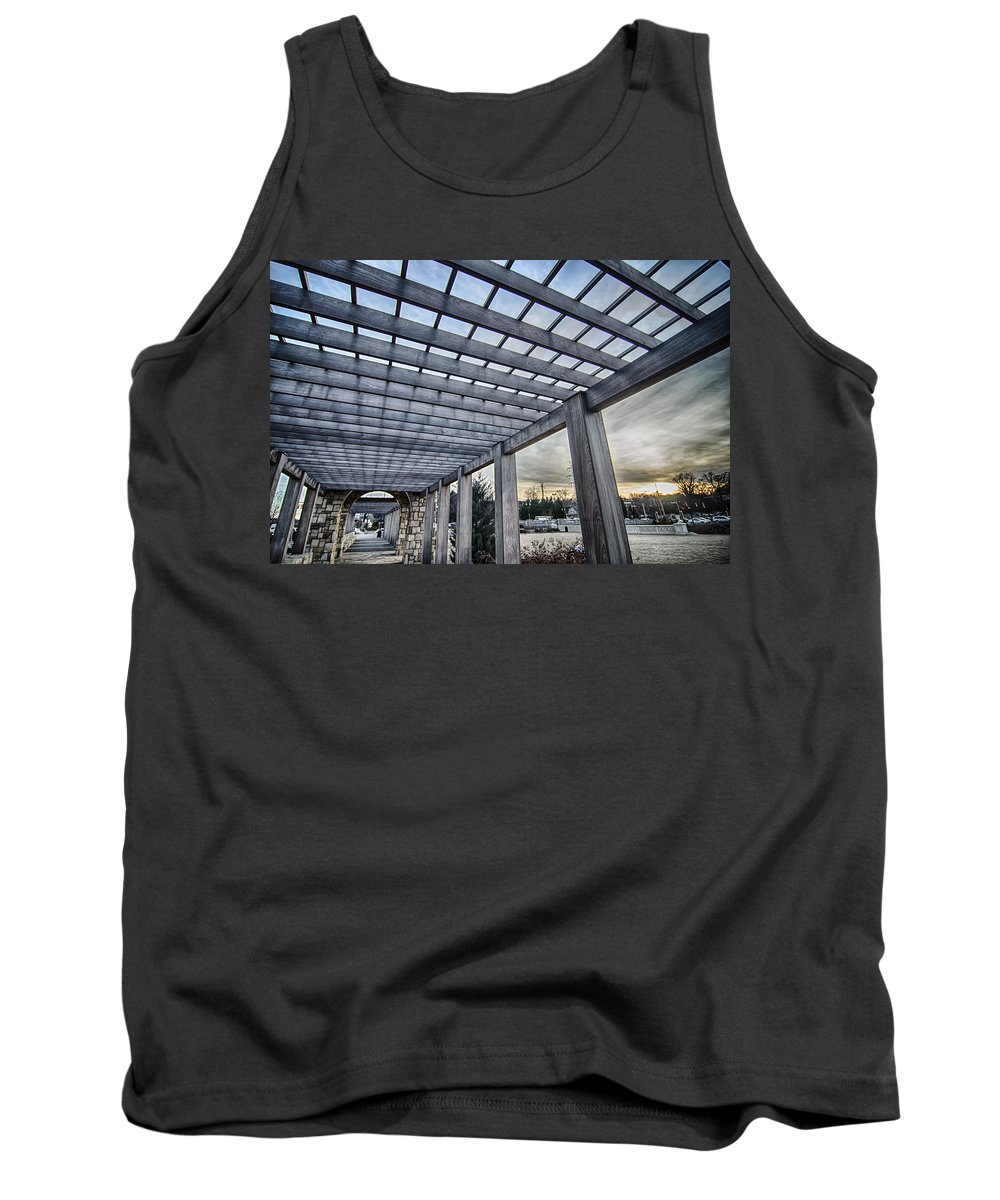 Cultured Tank Top featuring the photograph Cultured Stone Terrace Trellis Details Near Park In A City by Alex Grichenko