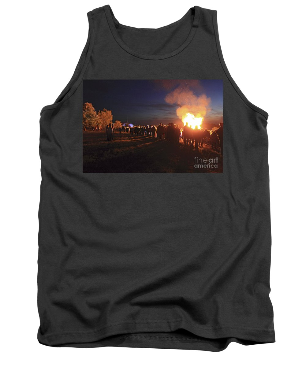 Diamond Jubilee Beacon On Epsom Downs Surrey Uk Tank Top featuring the photograph Diamond Jubilee Beacon On Epsom Downs Surrey Uk by Julia Gavin