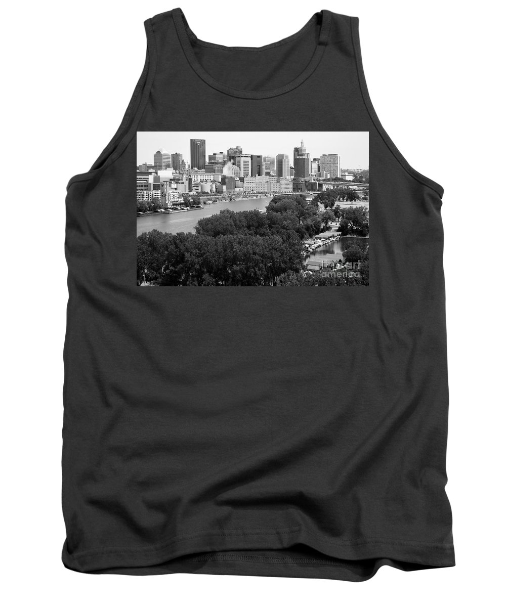 Black And White Tank Top featuring the photograph Downtown Skyline Aerial Of St. Paul Minnesota by Bill Cobb
