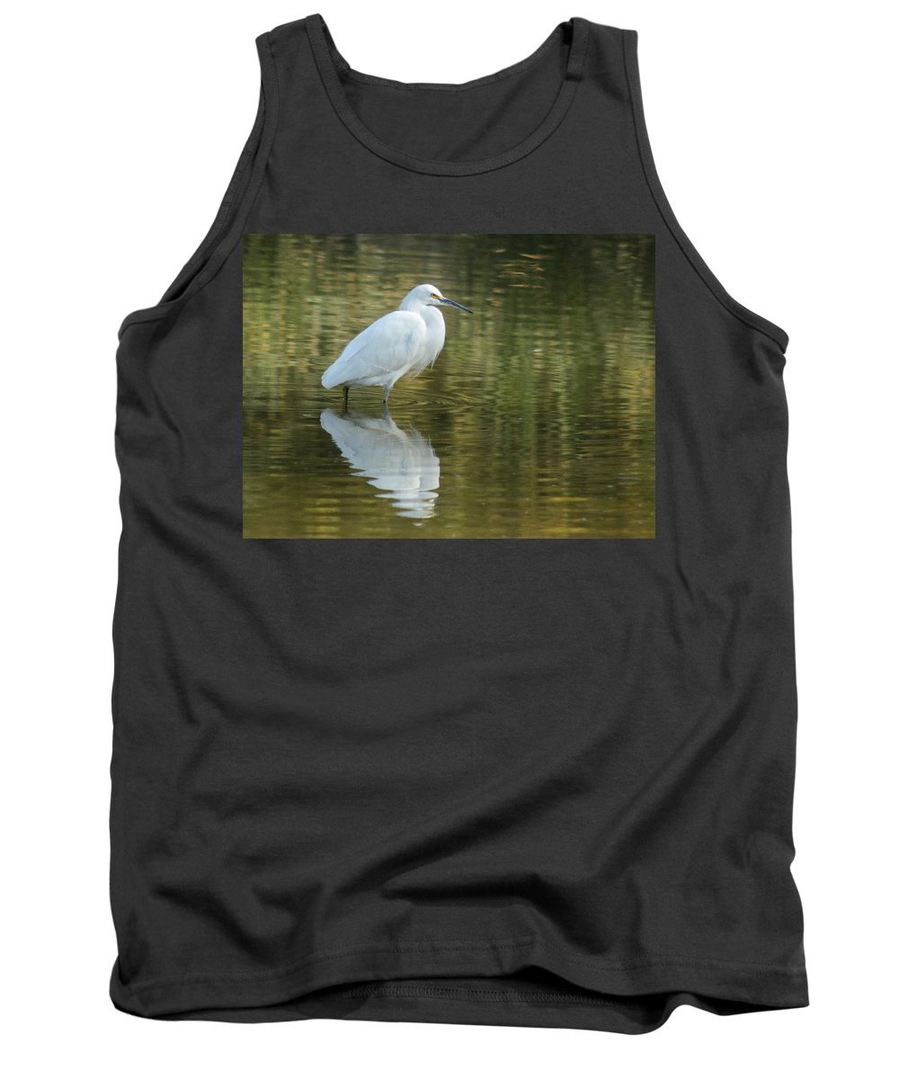 Egret Tank Top featuring the photograph Egret Reflection by Tam Ryan