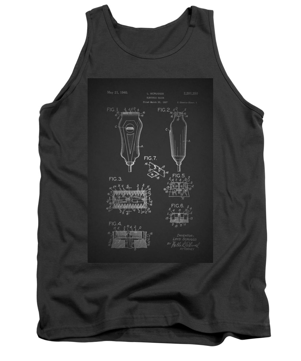 Patent Tank Top featuring the drawing Electric Razor Patent 1940 by Mountain Dreams