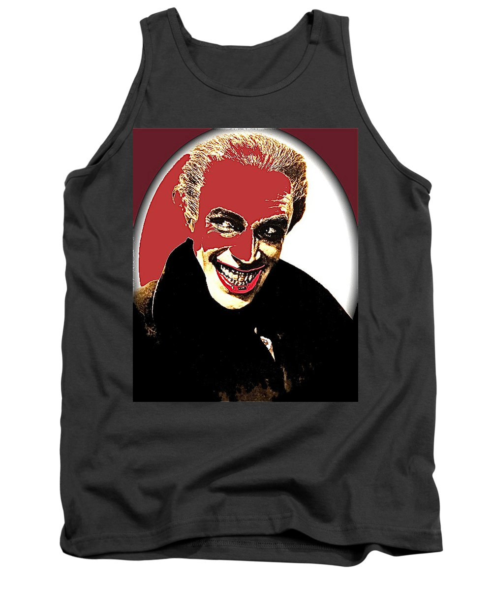 Film Homage Conrad Veidt The Man Who Laughs 1928 Tank Top featuring the photograph Film Homage Conrad Veidt The Man Who Laughs 1928-2013 by David Lee Guss