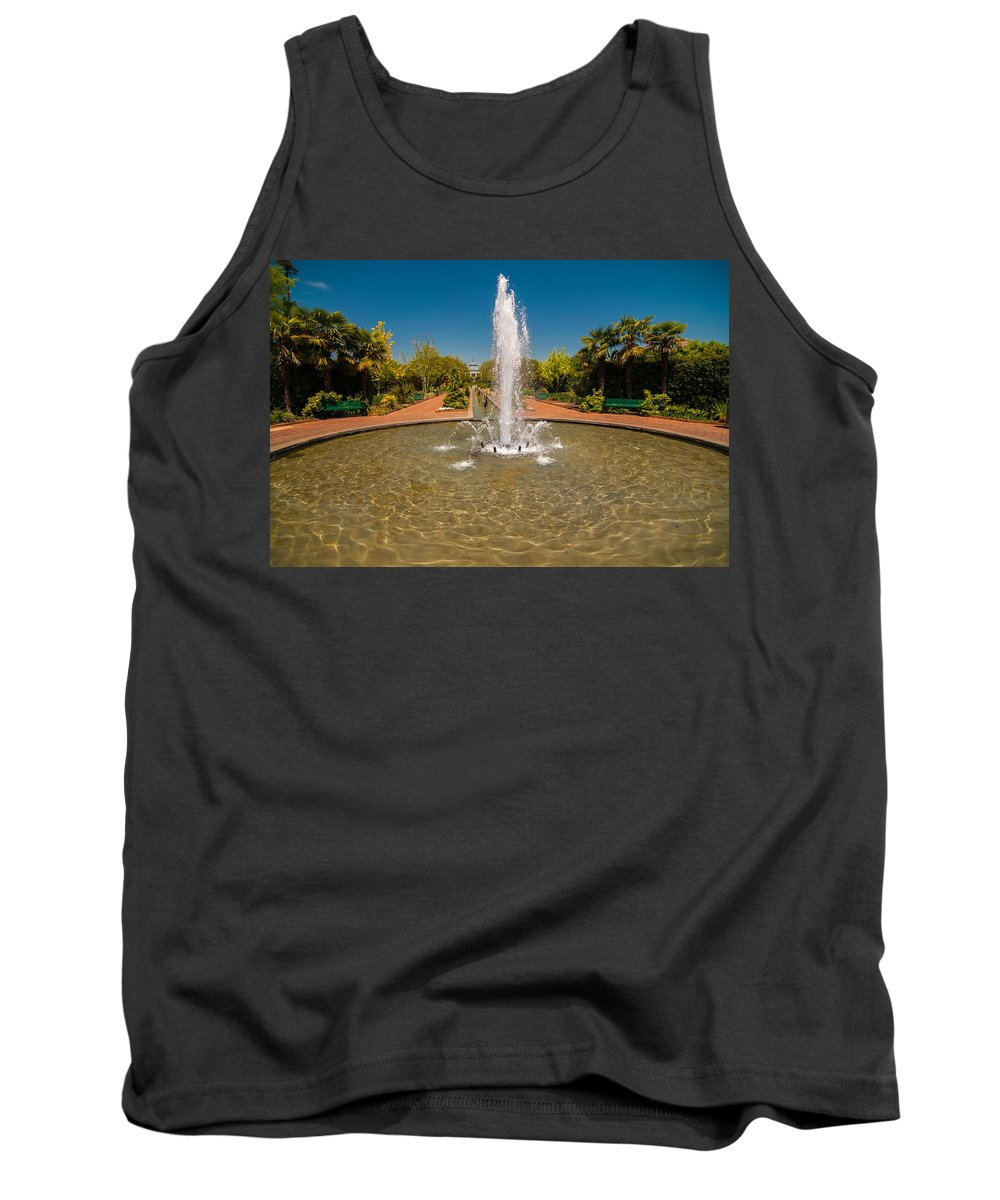 Background Tank Top featuring the photograph Fountain In Botanical Garden by Alex Grichenko