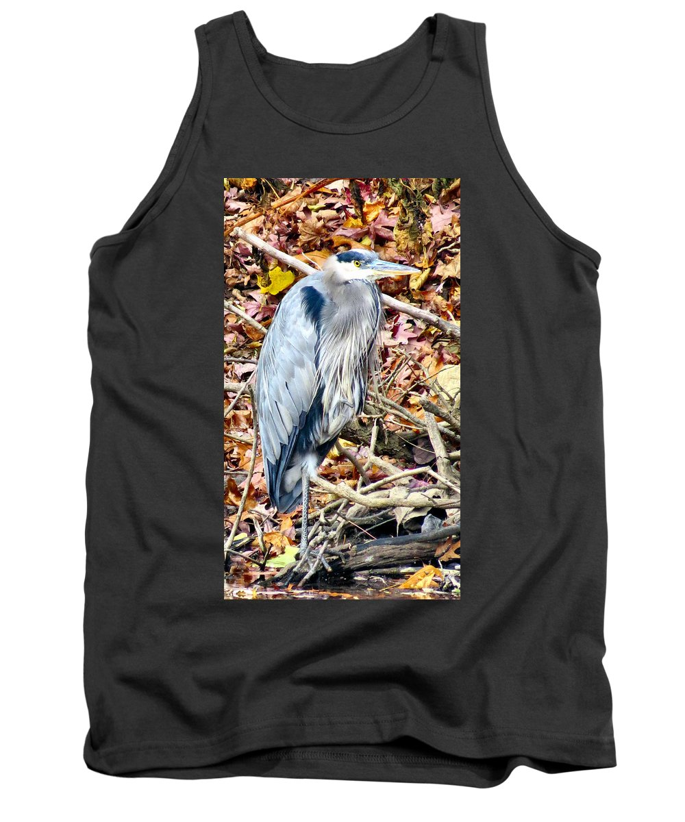 Heron Tank Top featuring the photograph Great Blue by Art Dingo