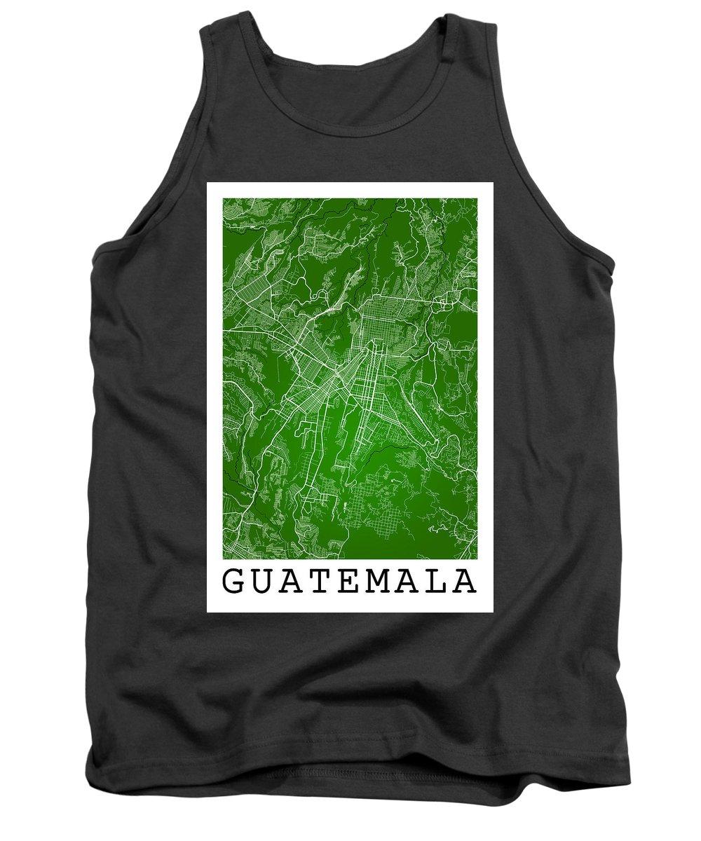 Road Map Tank Top featuring the digital art Guatemala Street Map - Guatemala City Guatemala Road Map Art On by Jurq Studio