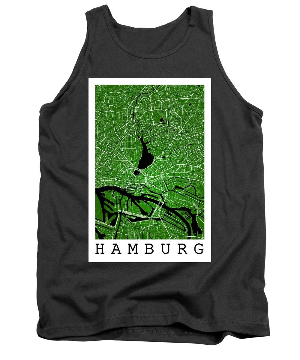 Road Map Tank Top featuring the digital art Hamburg Street Map - Hamburg Germany Road Map Art On Colored Bac by Jurq Studio