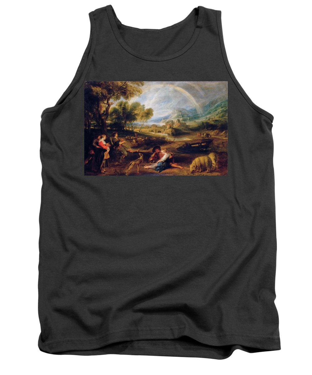 Peter Paul Rubens Tank Top featuring the painting Landscape With A Rainbow by Peter Paul Rubens