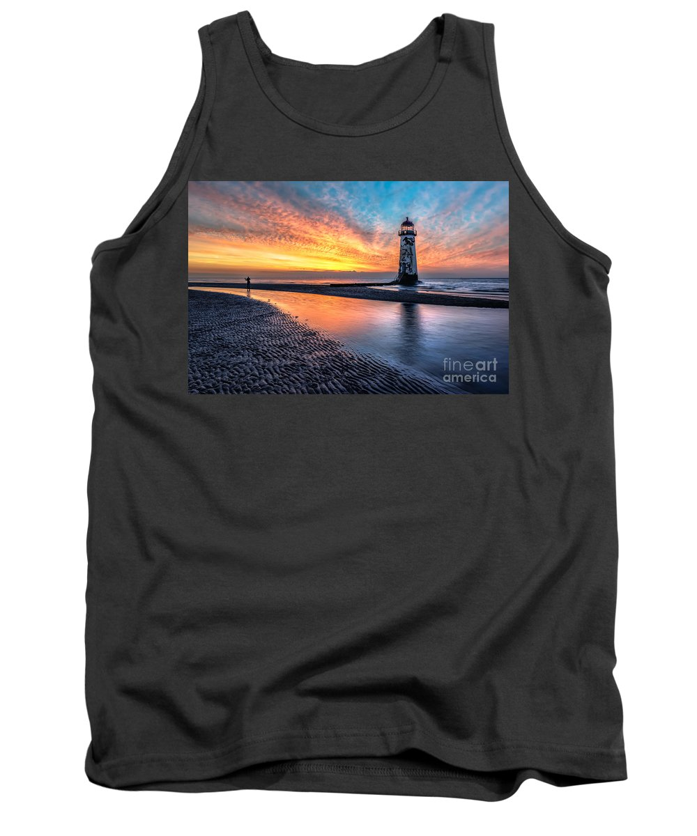 Sunset Tank Top featuring the photograph Lighthouse Sunset by Adrian Evans