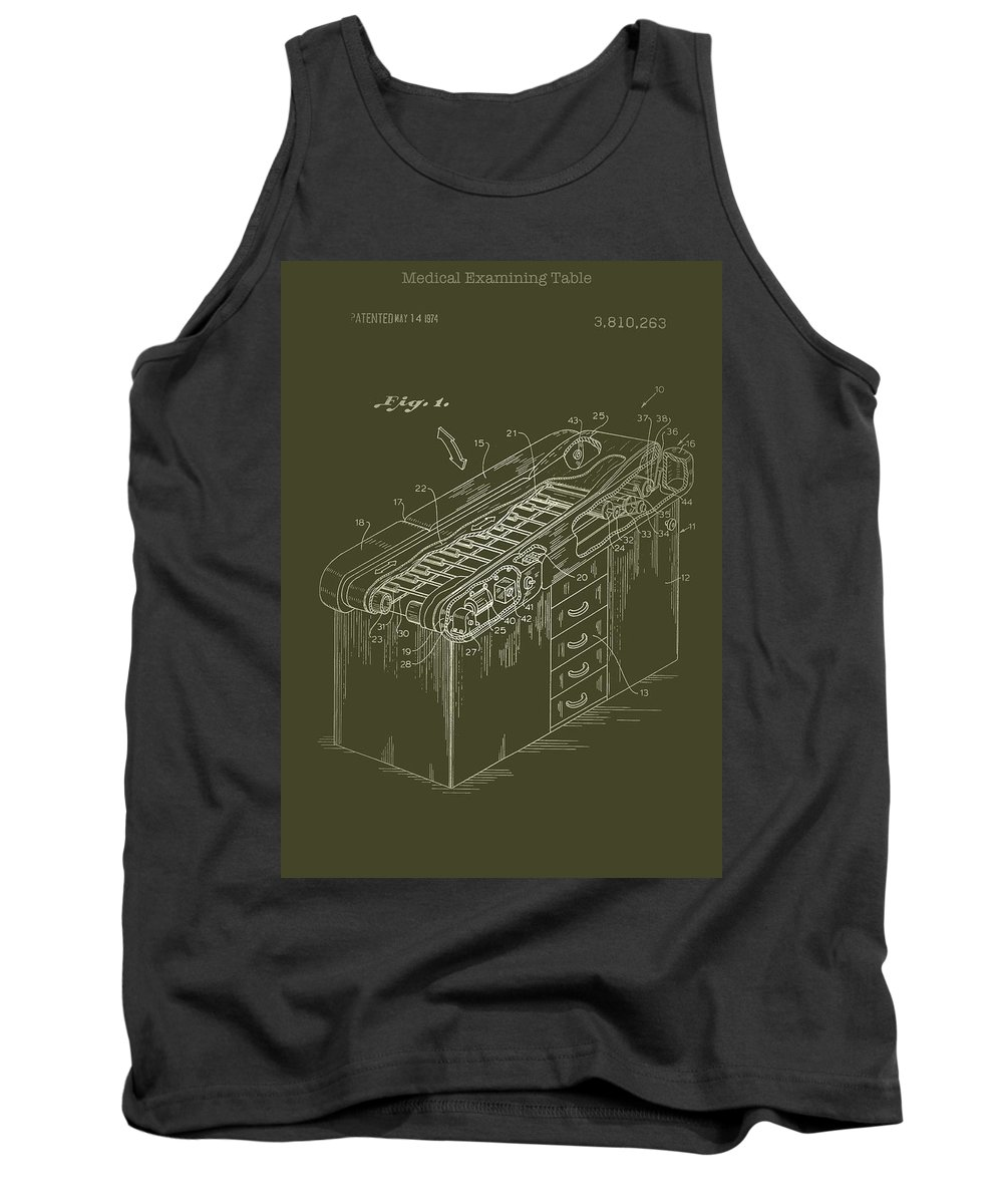 Patent Tank Top featuring the drawing Medical Examining Table Patent 1974 by Mountain Dreams