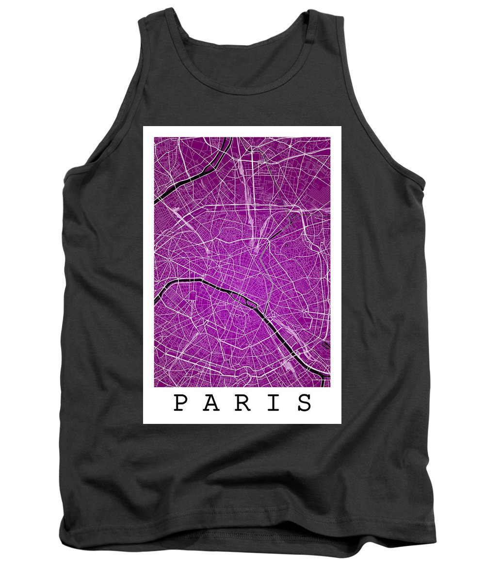 Road Map Tank Top featuring the digital art Paris Street Map - Paris France Road Map Art On Colored Backgrou by Jurq Studio