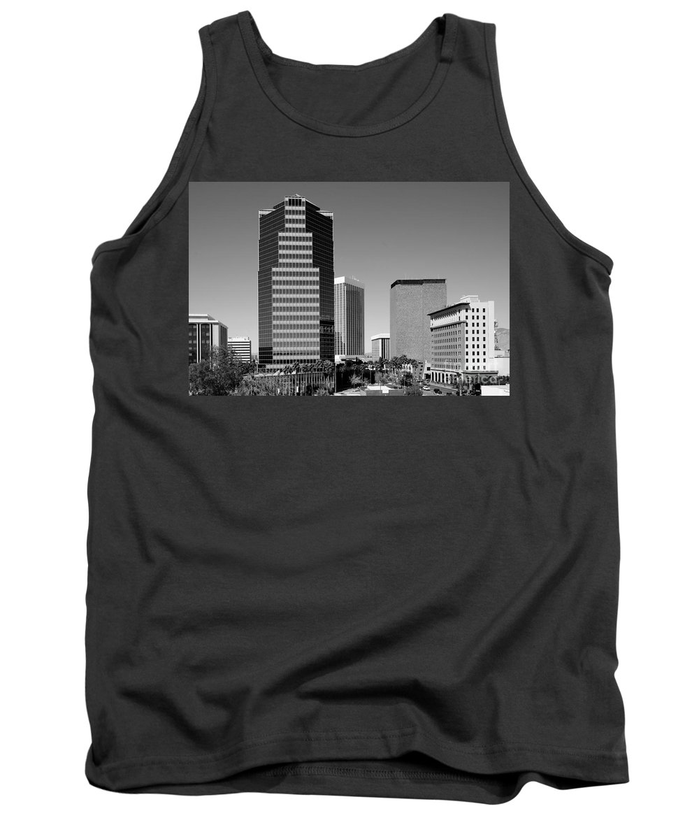 Black And White Tank Top featuring the photograph Skyline Of Tucson Az by Bill Cobb