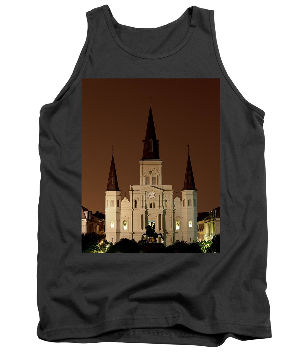 Louisiana Tank Top featuring the photograph St Louis Cathedral At Night by Susie Hoffpauir