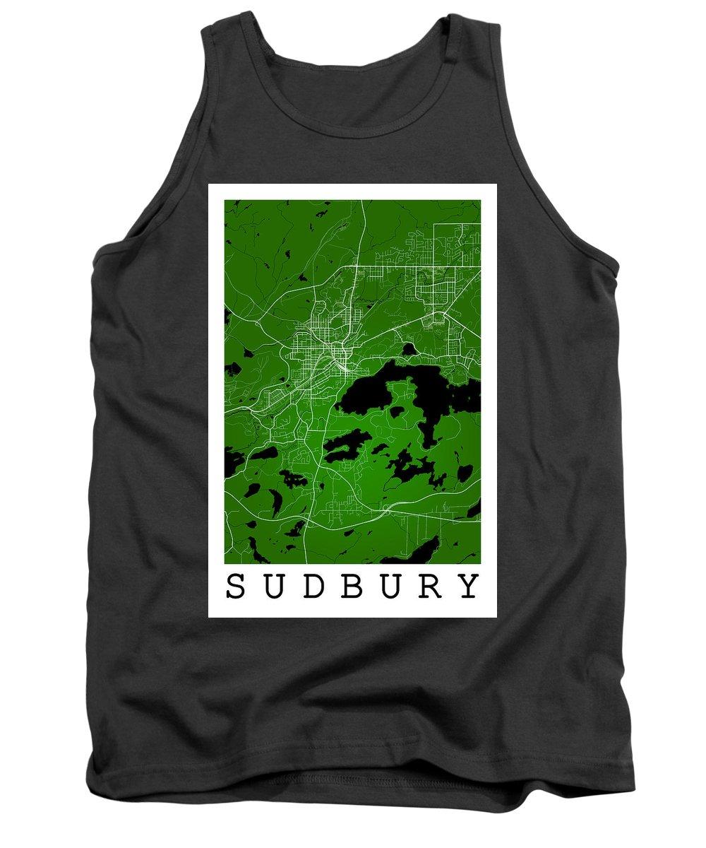Road Map Tank Top featuring the digital art Sudbury Street Map - Sudbury Canada Road Map Art On Colored Back by Jurq Studio