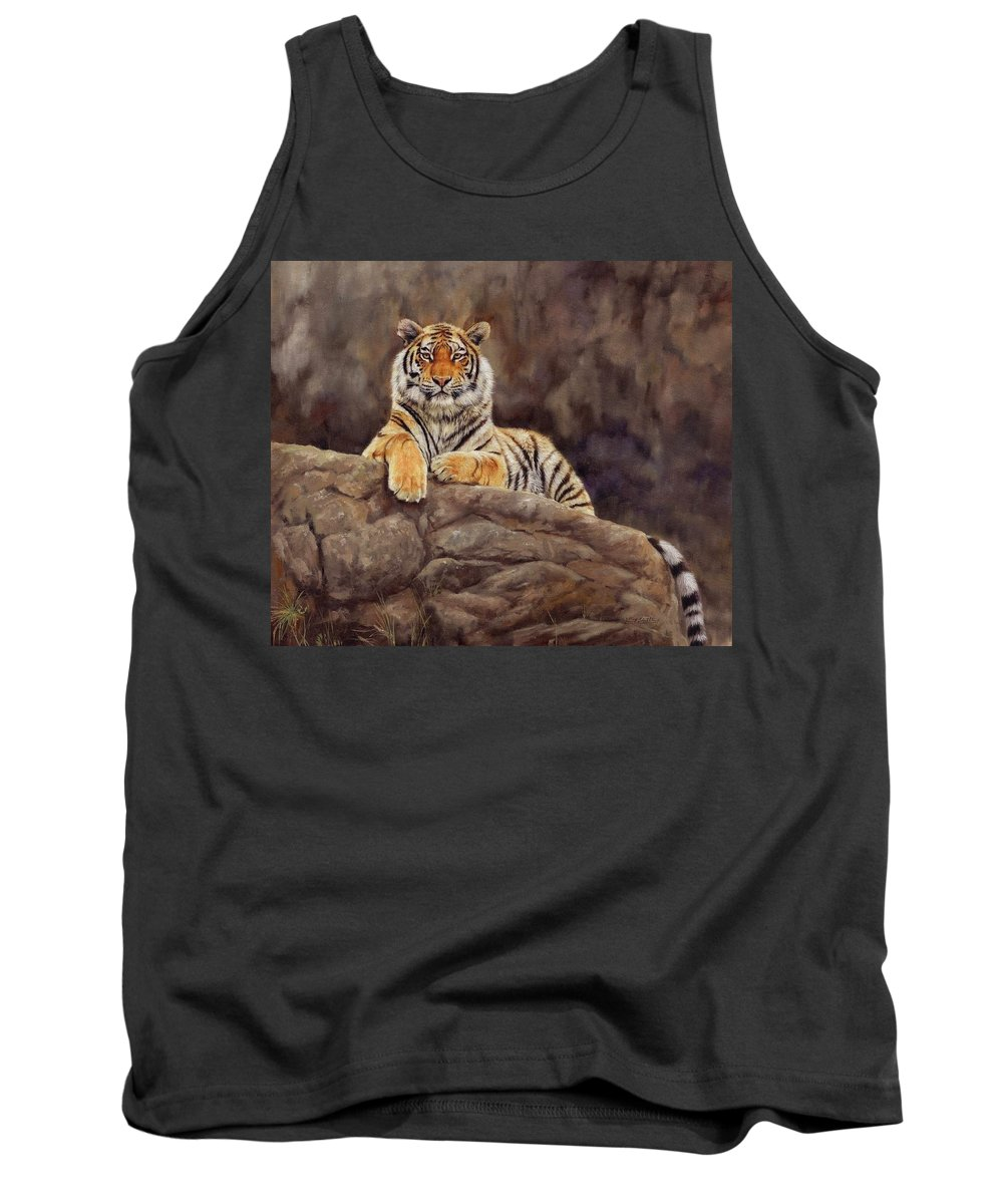 Tiger Tank Top featuring the painting Tiger by David Stribbling