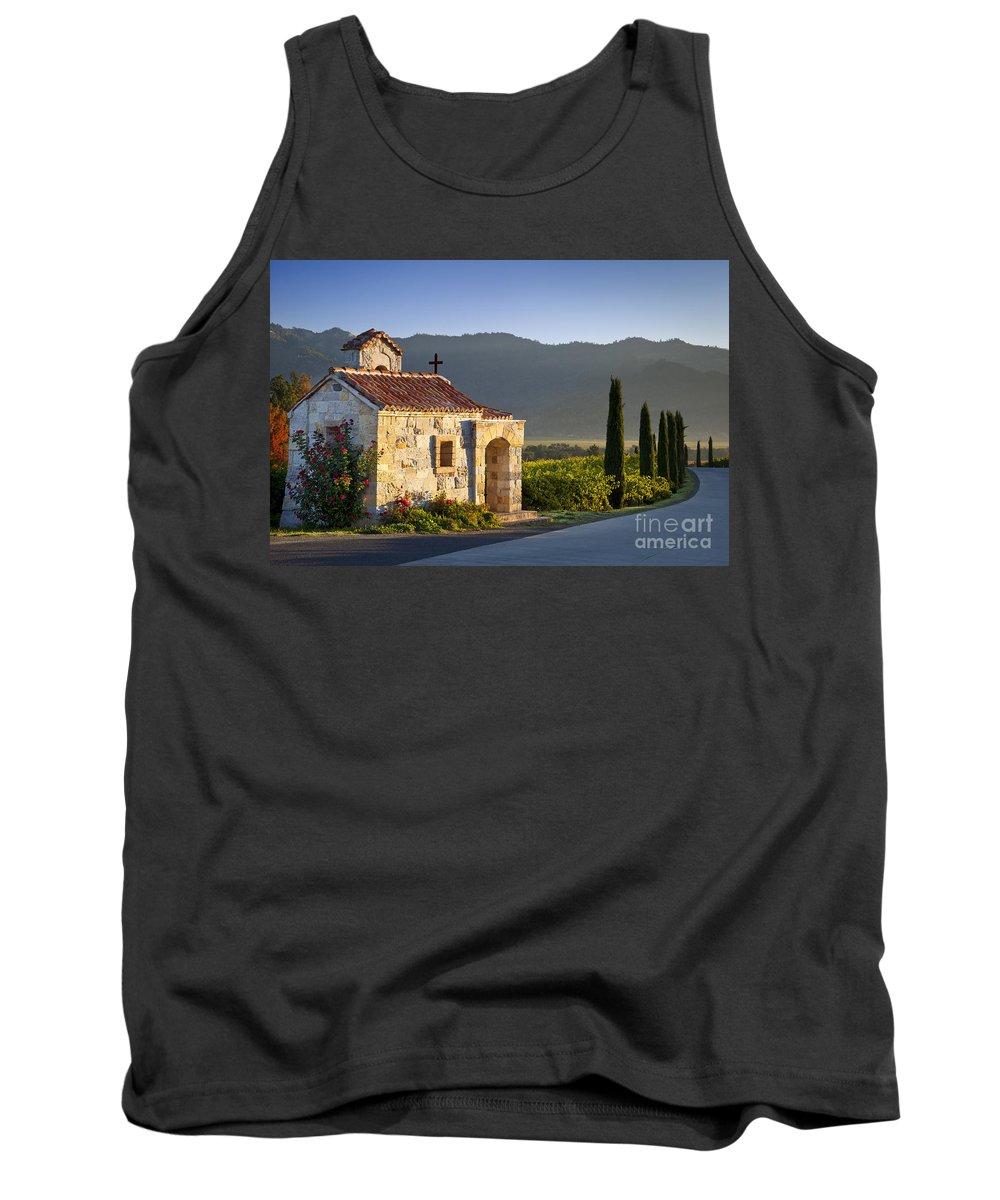 Napa Tank Top featuring the photograph Vineyard Prayer Chapel by Brian Jannsen