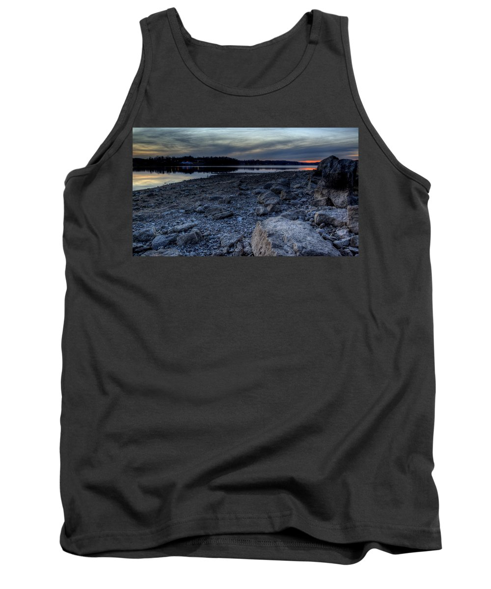 Sunset Tank Top featuring the photograph Winter Sunset On The Lake by David Dufresne