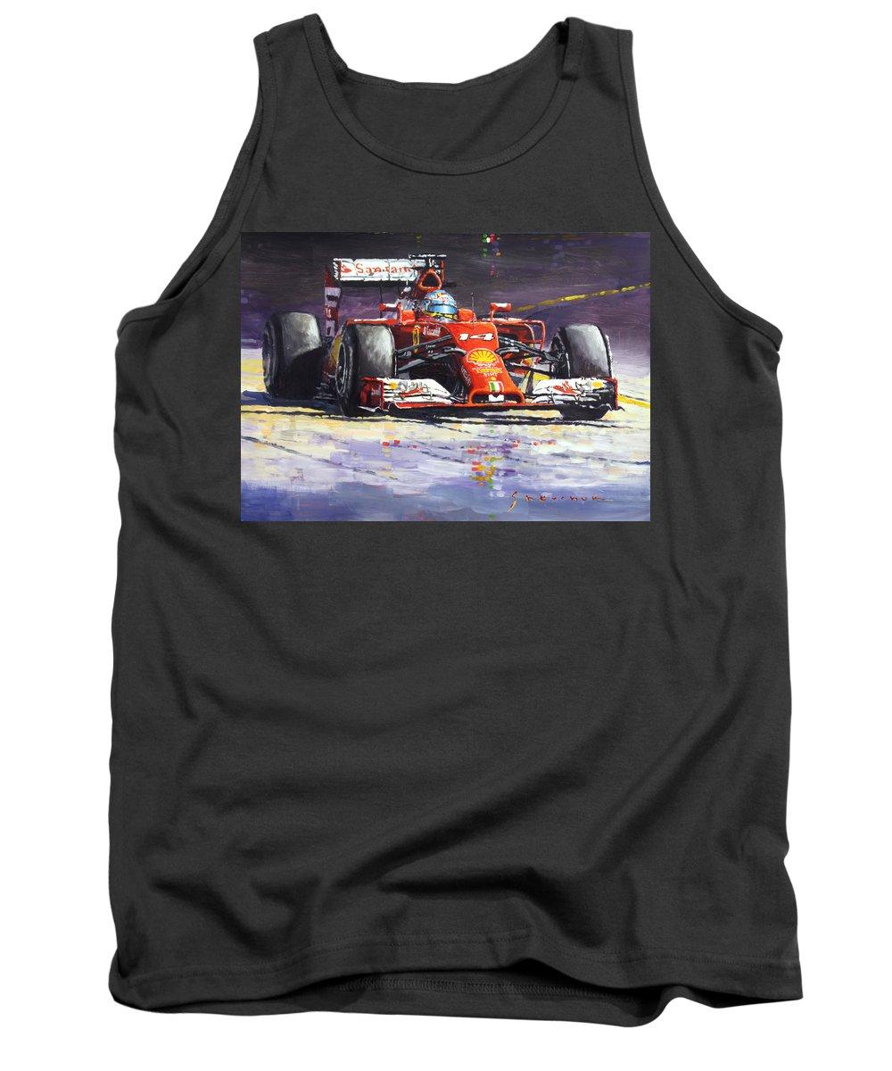 Acrilic Tank Top featuring the painting 2014 Ferrari F14t Fernando Alonso by Yuriy Shevchuk