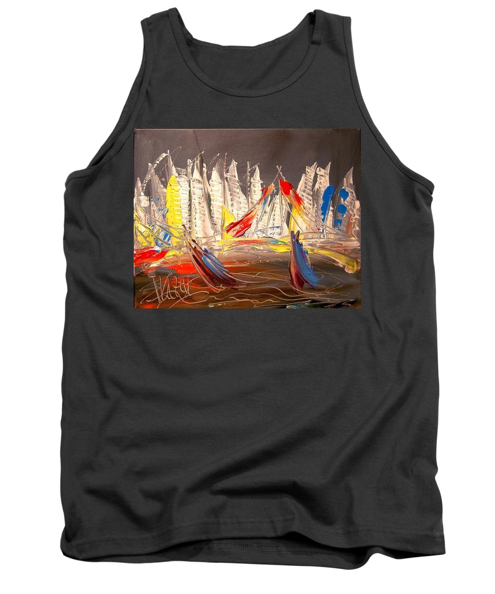 Tank Top featuring the painting NYC by Mark Kazav
