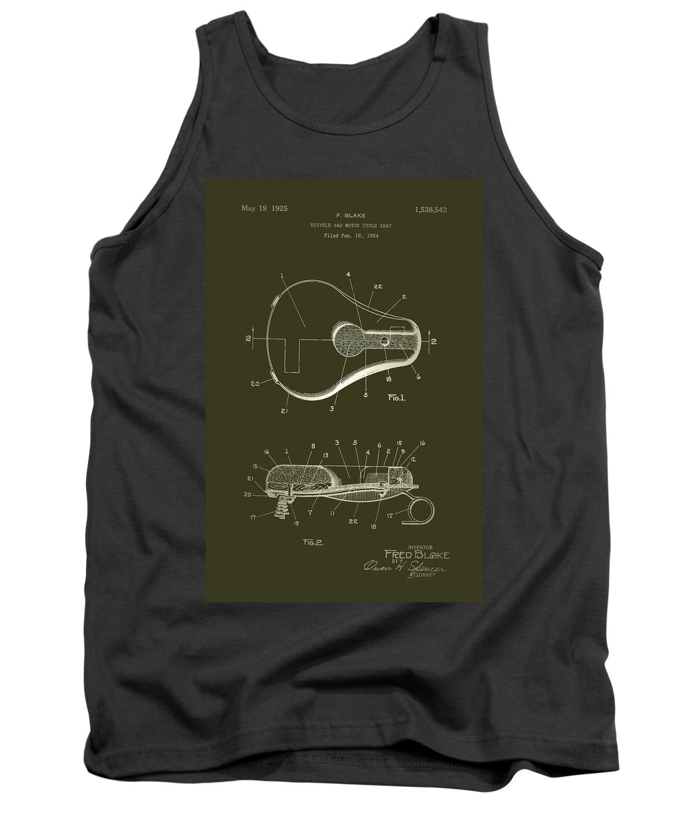 Patent Tank Top featuring the drawing Bicycle And Motorcycle Seat 1925 Patent by Mountain Dreams