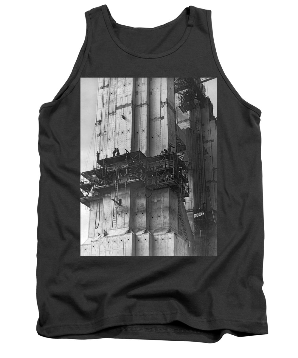 1930s Tank Top featuring the photograph Ggb Tower Under Construction by Underwood Archives